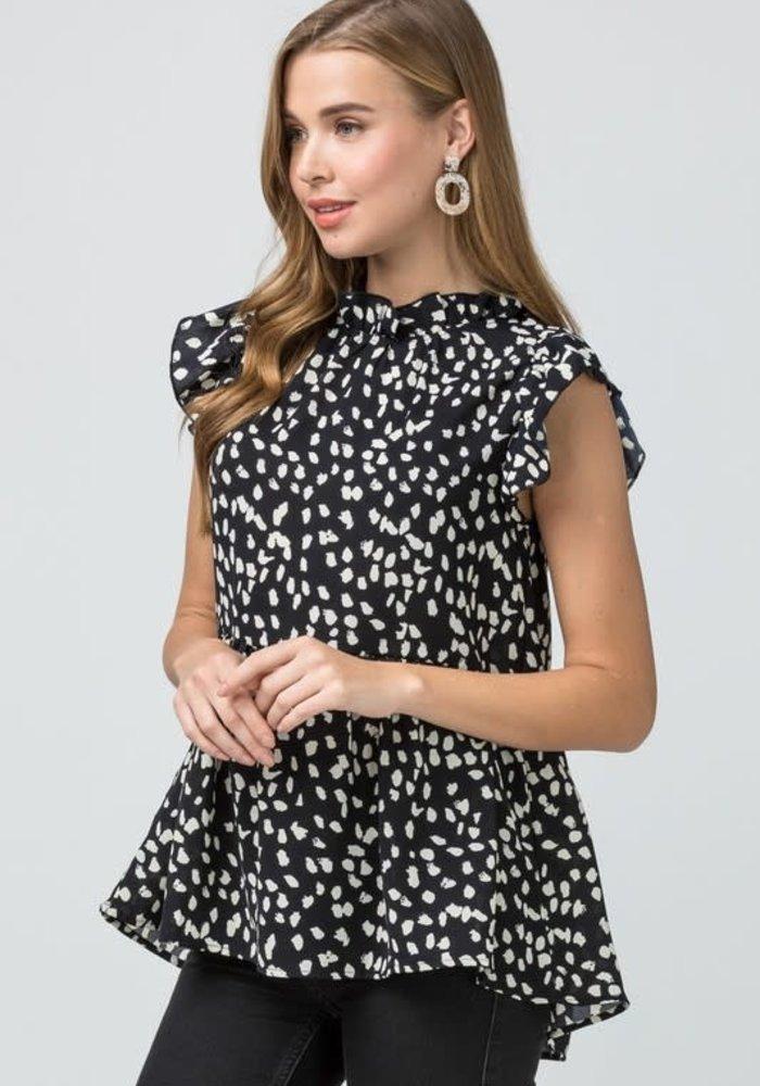 Cheetah Print Ruffle Top