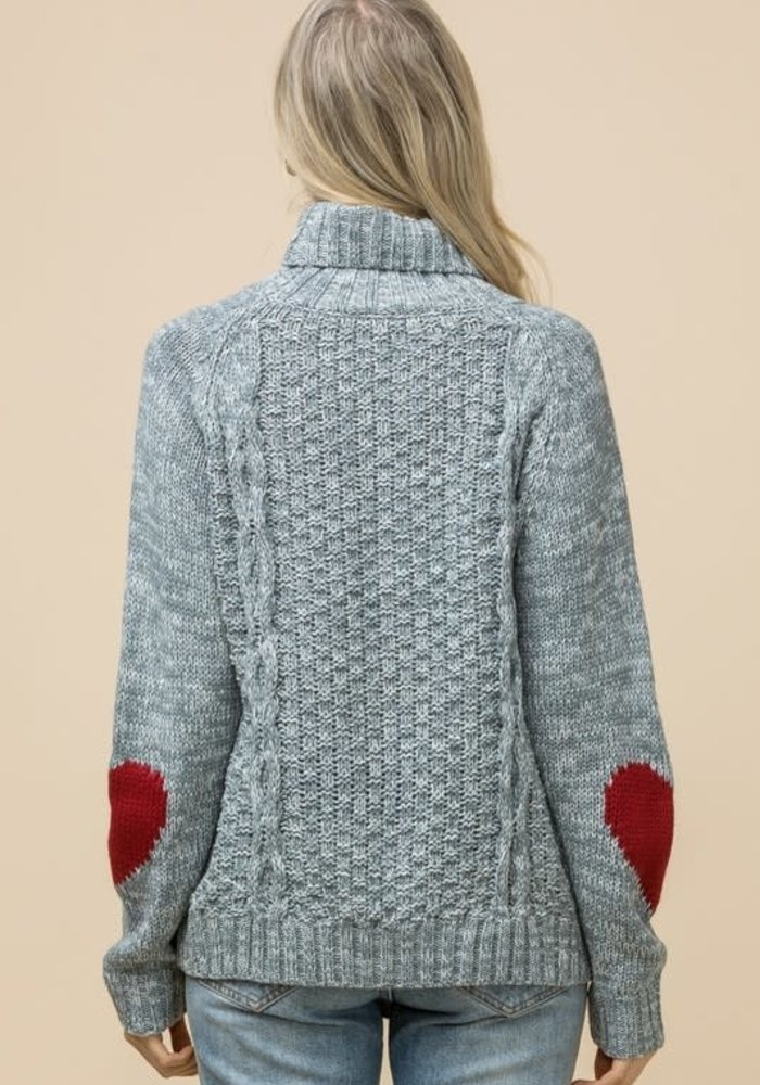 Cable-knit Heart Elbow Sweater