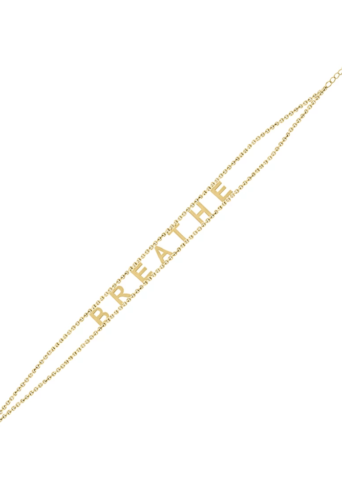Breathe Gold Plated Message Bracelet