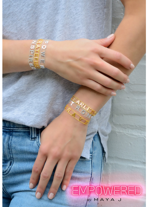 Empowered by Maya J Fearless Gold Plated Message Bracelet