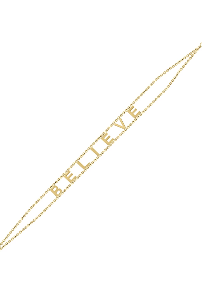 Believe Gold Plated Message Bracelet