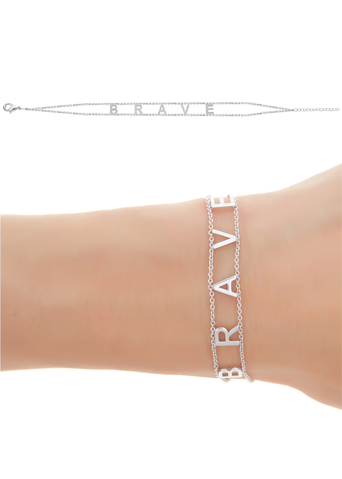 Empowered by Maya J Brave Gold Plated Message Bracelet
