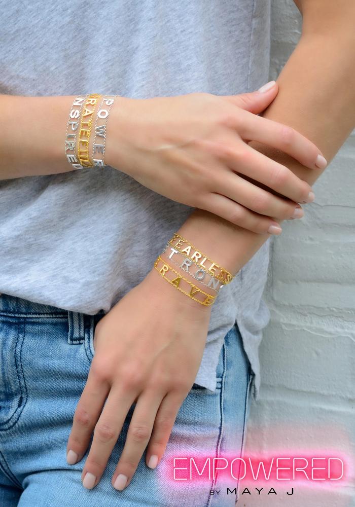 Brave Gold Plated Message Bracelet