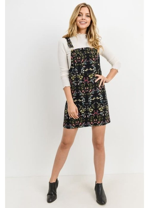 Corduroy Floral Overall Dress