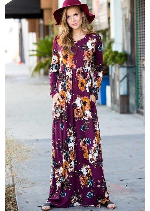 Burgundy Floral Maxie Dress