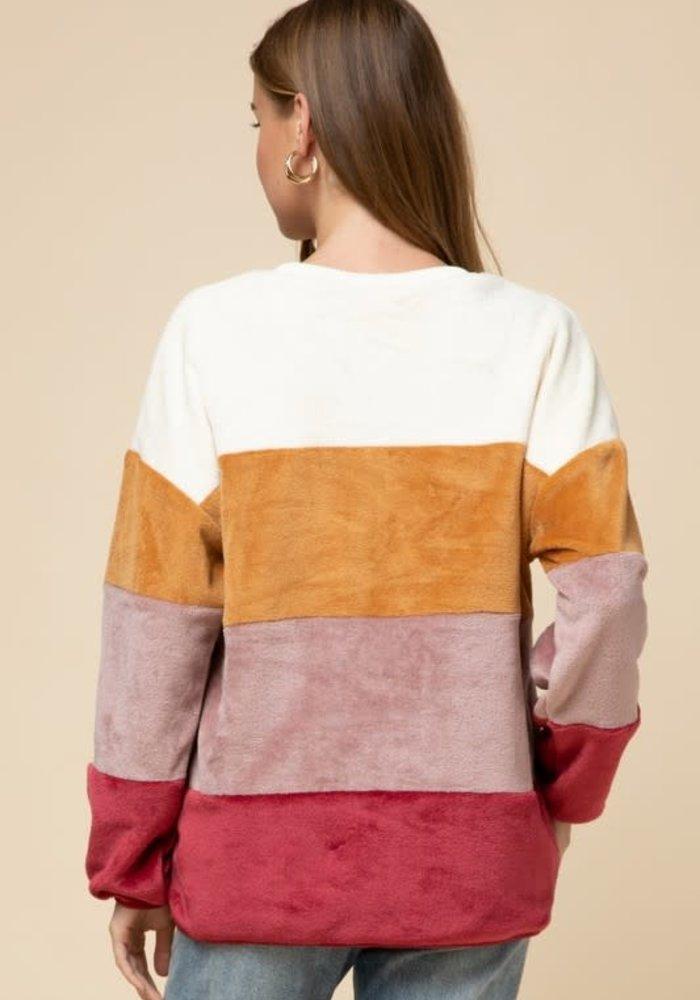 Color Block Fleece Pullover Sweater