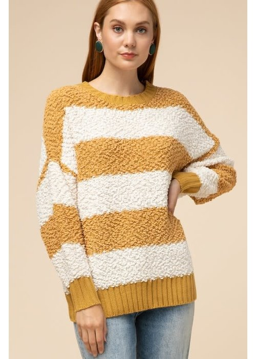 Mustard Stripe Open-Back Sweater
