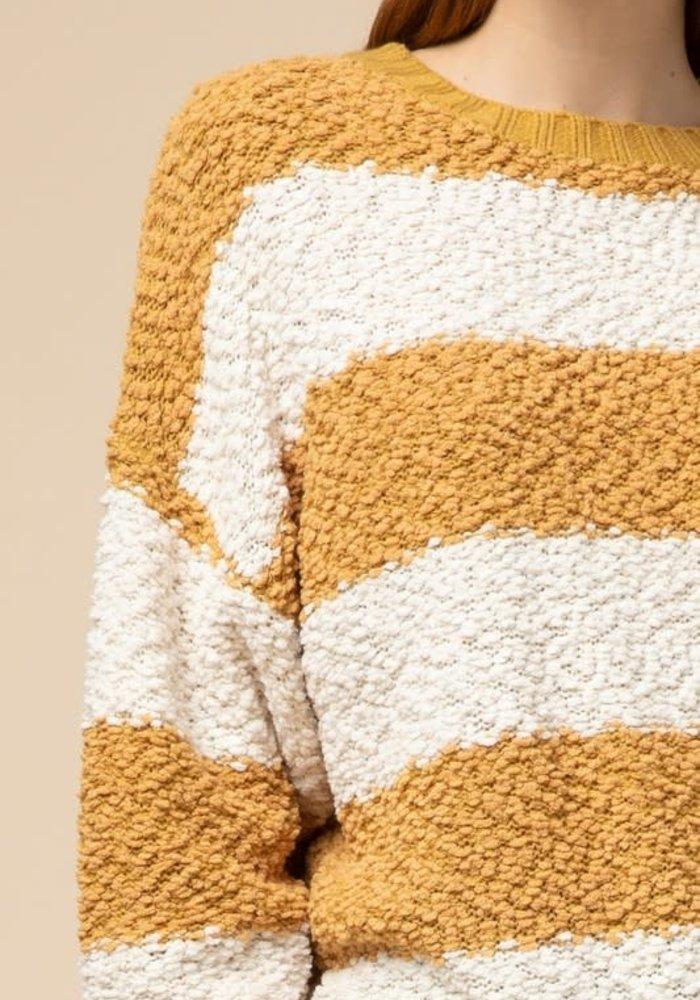 Mustard Stripe Open-Back Sweater