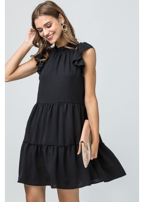 Tiered Ruffle Cap Sleeve Dress