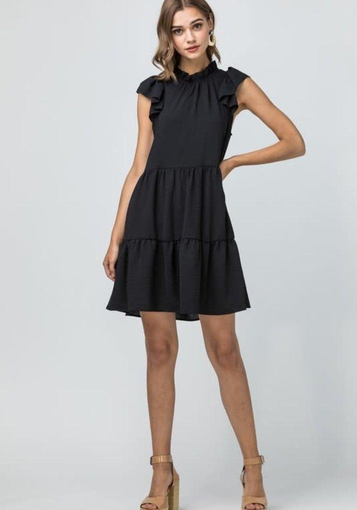 Tiered Ruffle Cap Sleeve Dress