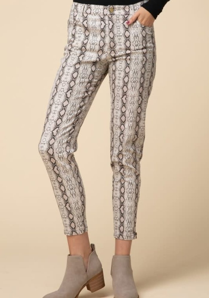 Reptile Print Cropped Pants