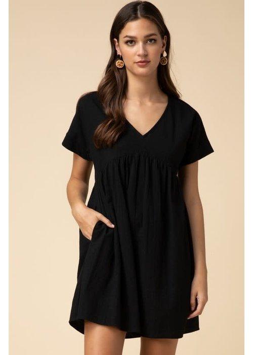 V-Neck Cotton Babydoll Dress