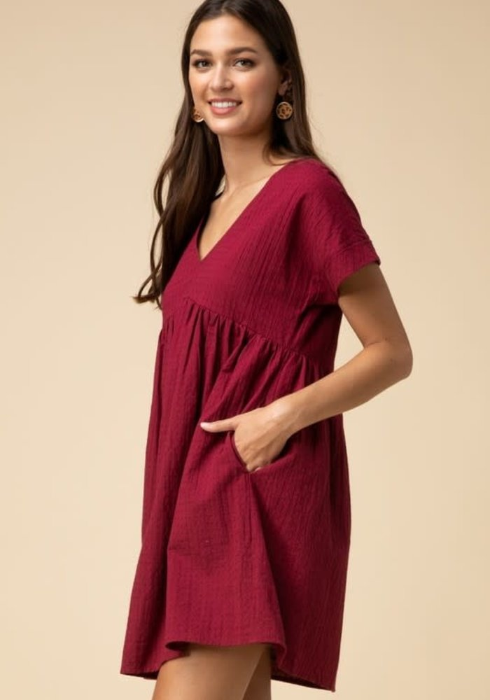 V-Neck Cotton Babydoll Dress
