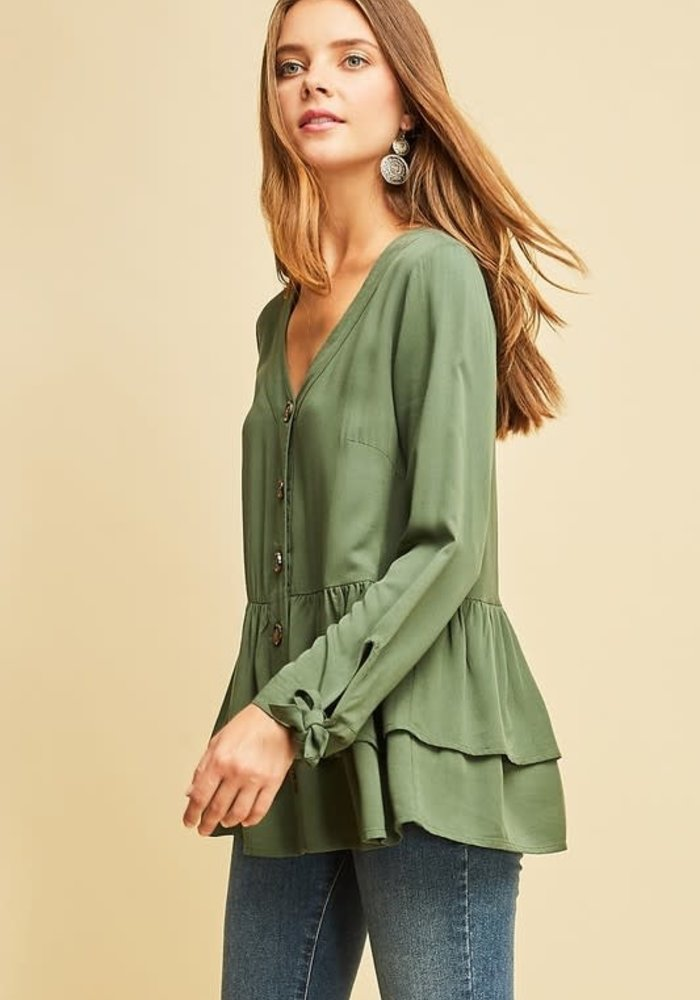 Tiered Ruffle V-Neck Top