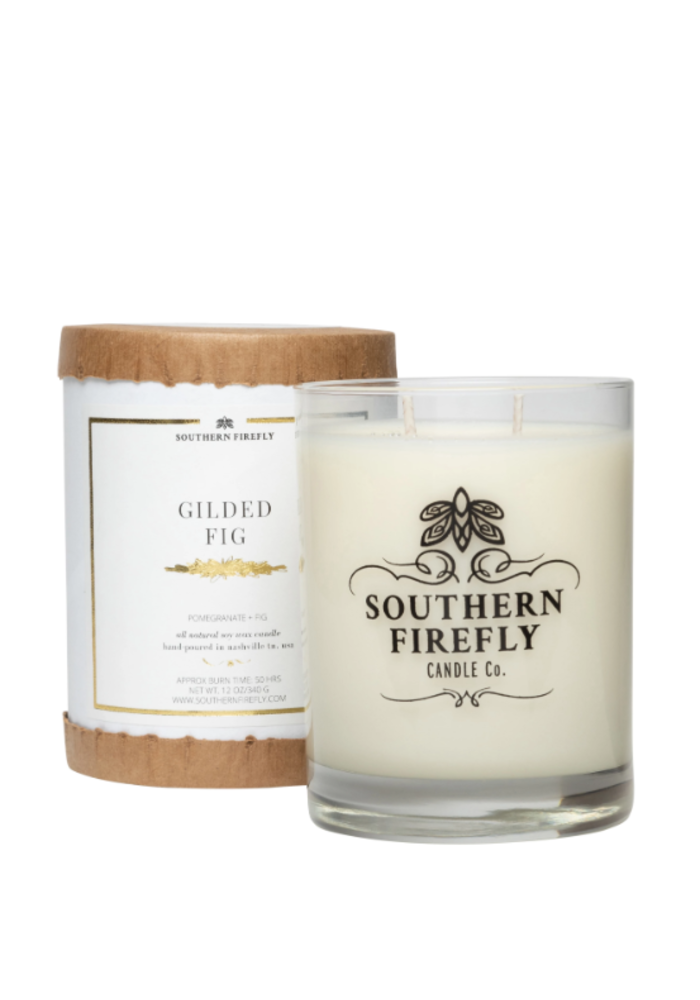 Gilded Fig Glass Candle