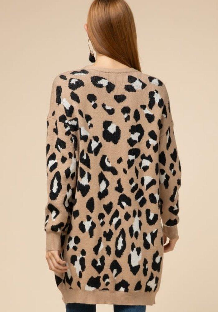 Leopard Open Front Pocket Cardigan