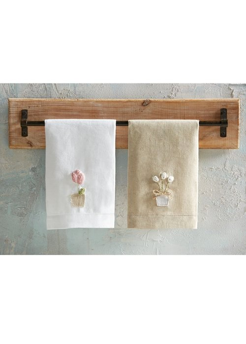 Mudpie Pink Tulip French Knot Tea Towel