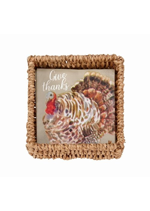 Mudpie Turkey Paper Napkins in Basket