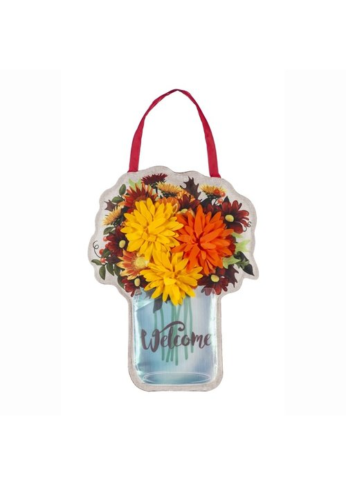Fall Mums Floral Mason Jar Door Decor