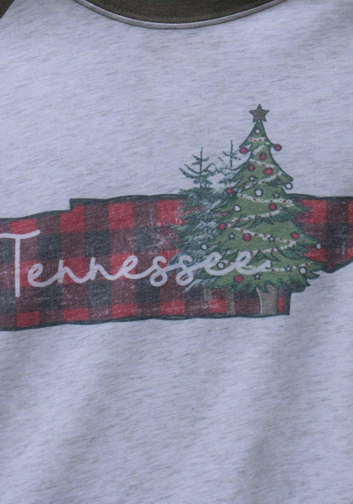 Tennessee Christmas Holiday Raglan Tee