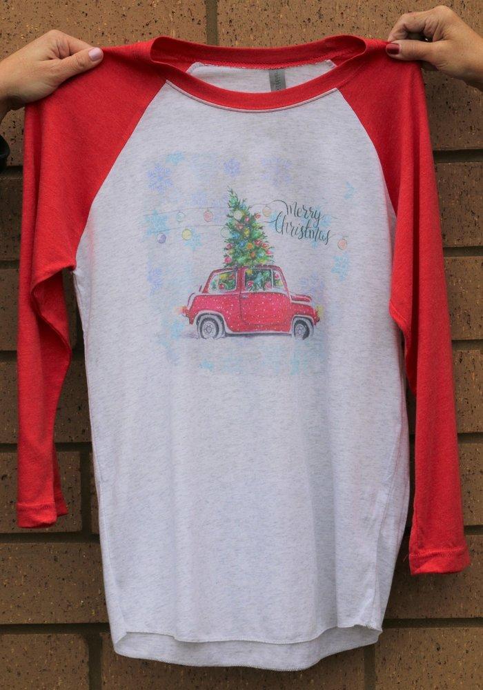 Merry Christmas Car Holiday Raglan