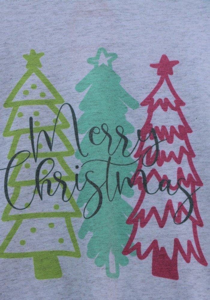 Merry Christmas Bright Tree Holiday Raglan Tee