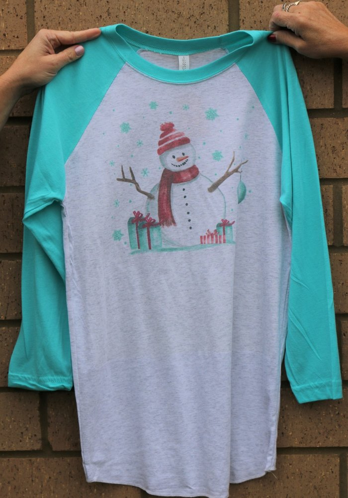 Snowman Holiday Raglan Tee