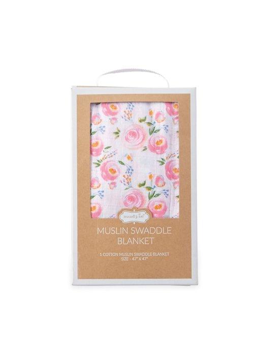 Mudpie Rosebud Swirl Floral Swaddle Blanket