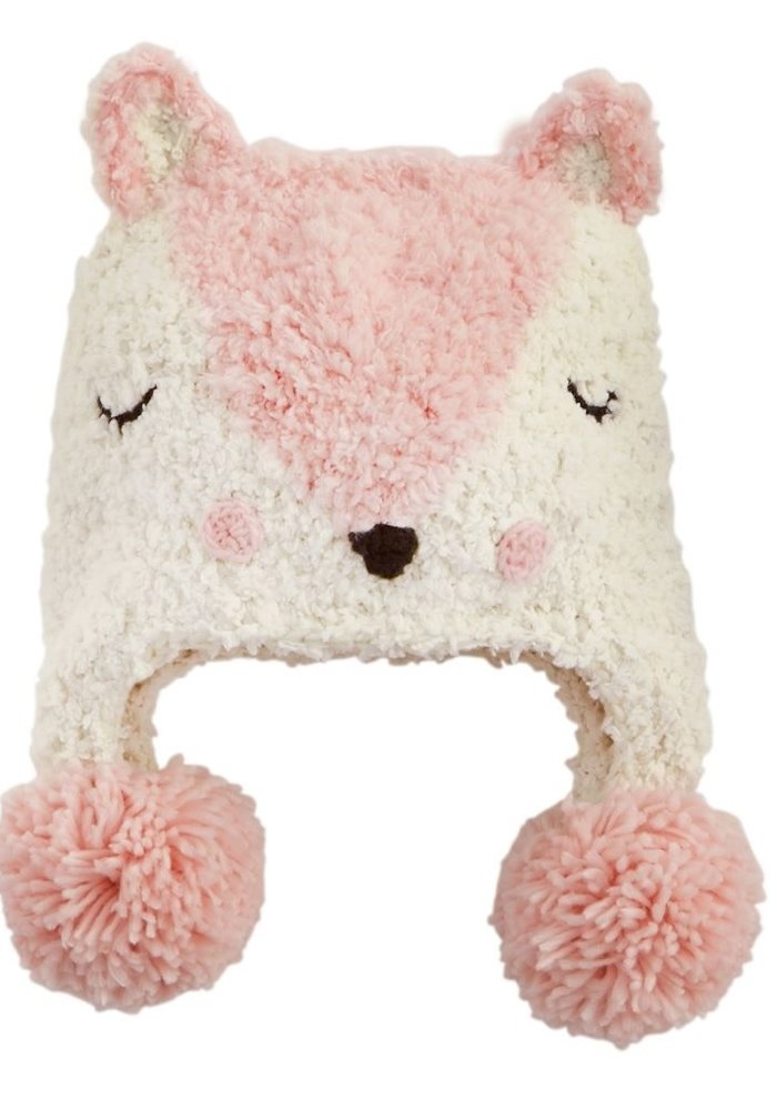 Pink Fox Chenille Knitted Hat