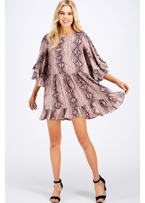 Snake Print 3/4 Sleeve Dress