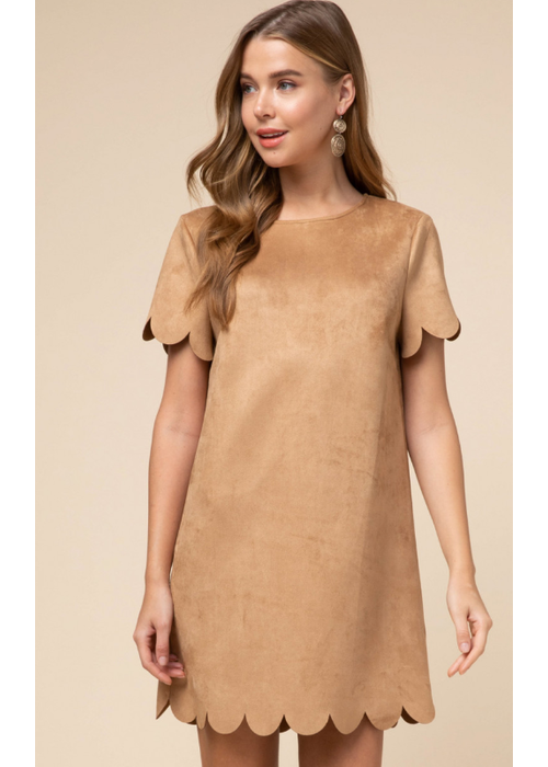 Suede Scallop Hem Dress
