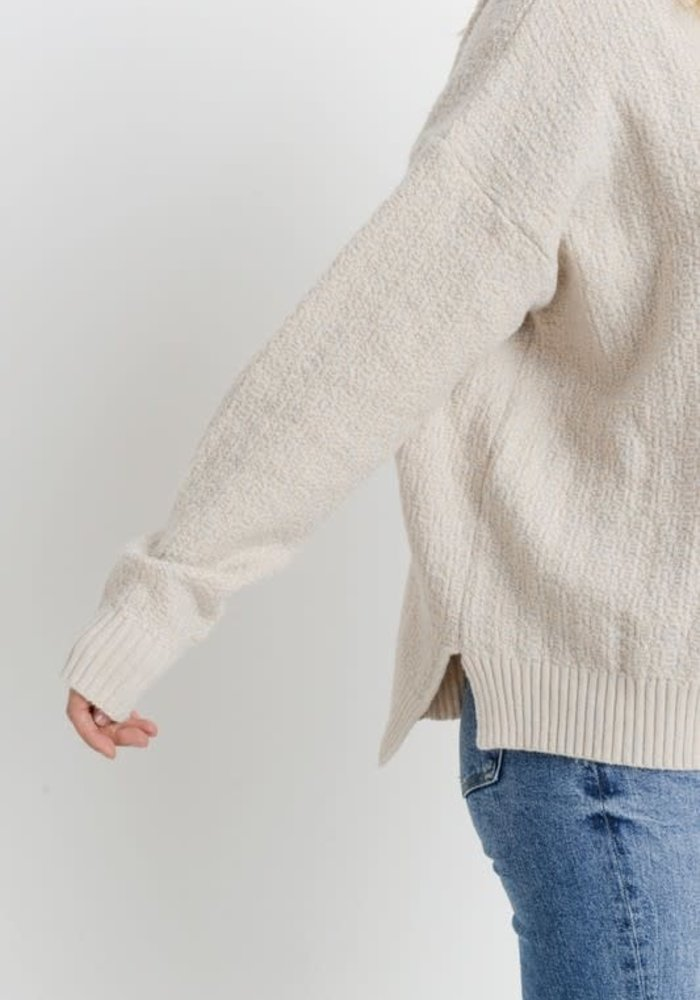 Ivory Knit Long Sleeve Drawstring Hoodie