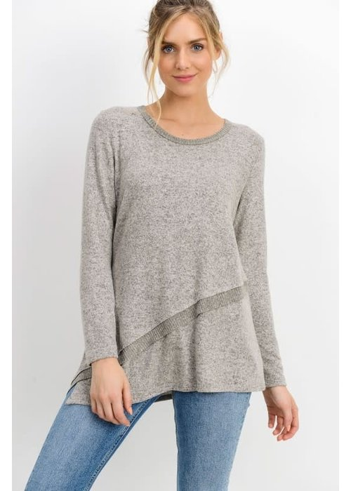 Taupe Brushed Hacci Asymmetric Hem Top