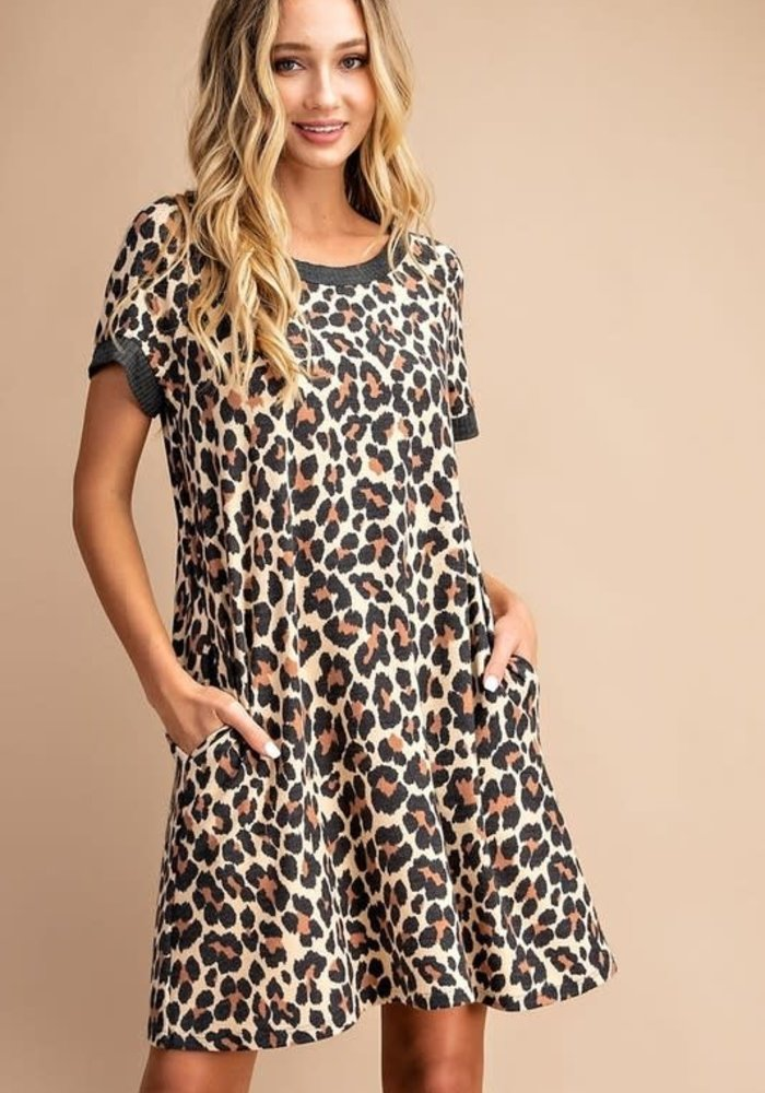 Leopard A-Line Short Sleeve Pocket Dress
