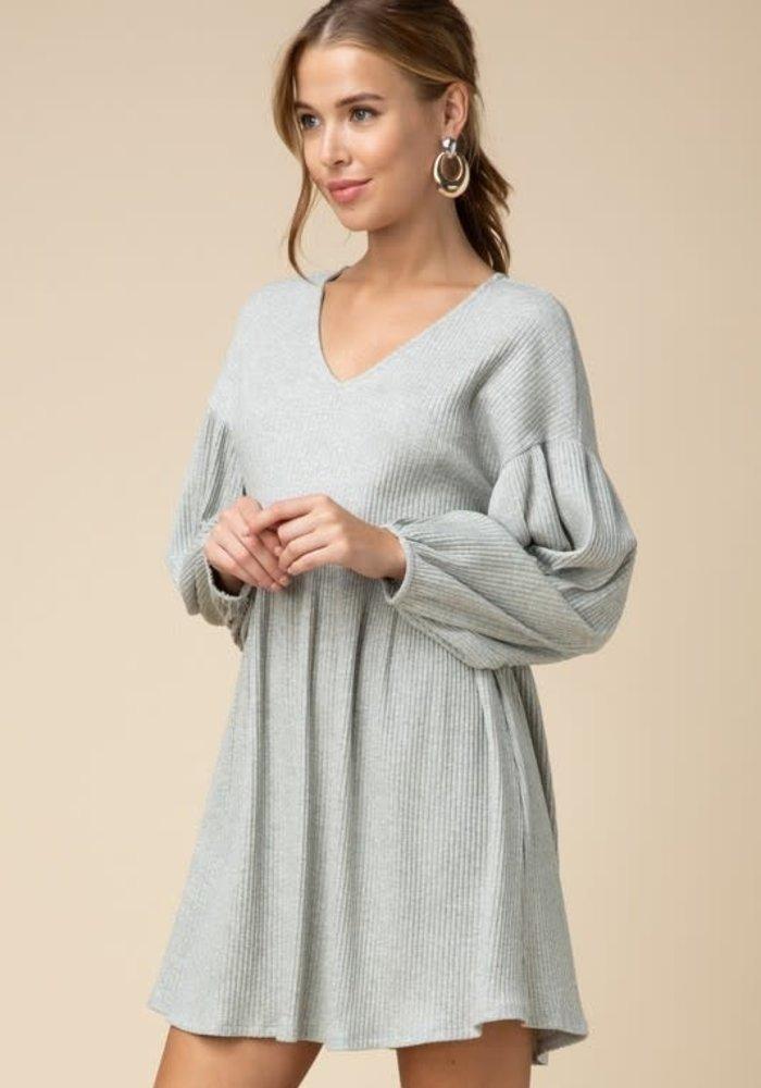 Heather Grey Ribbed V-Neck Babydoll Dress