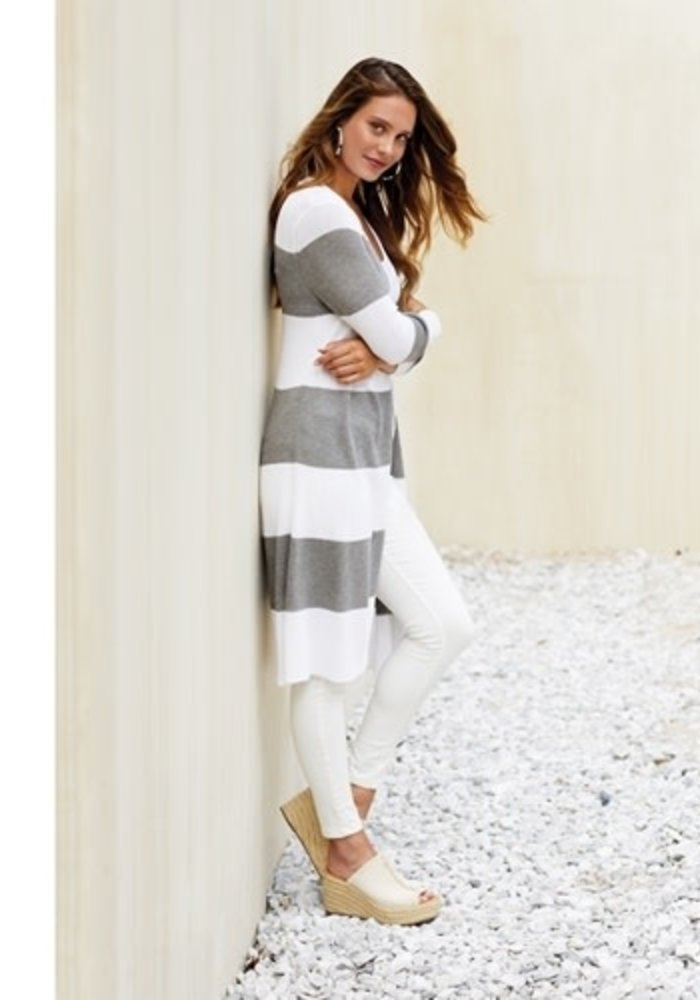 Vince Grey Stripe Cardigan