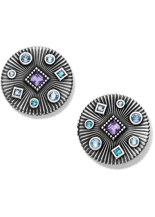 Brighton Halo Rays Silver-Tanzanite Round Post Earrings