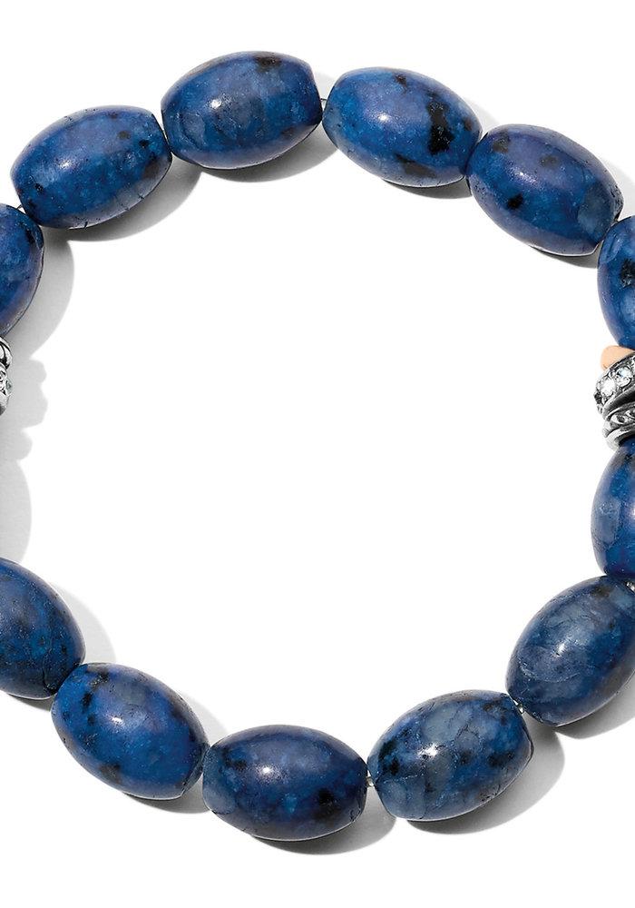 Neptune's Rings Dark Blue Kiwi Lapis Stretch Bracelet