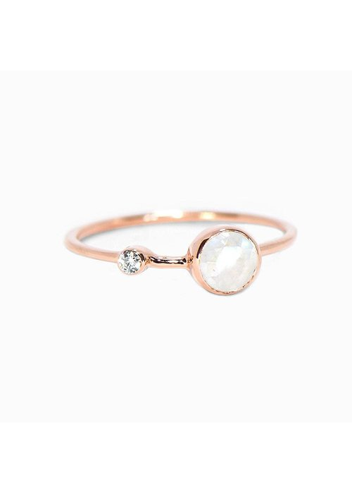 Pura Vida Moonstone Double Stone Rose Gold Ring