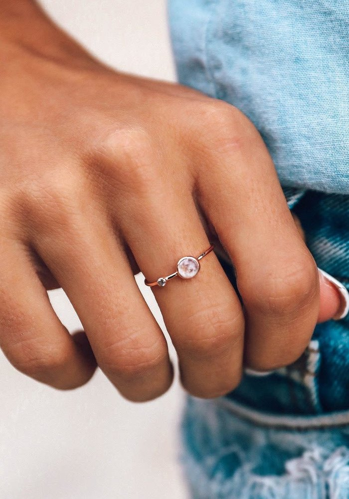 Moonstone Double Stone Rose Gold Ring