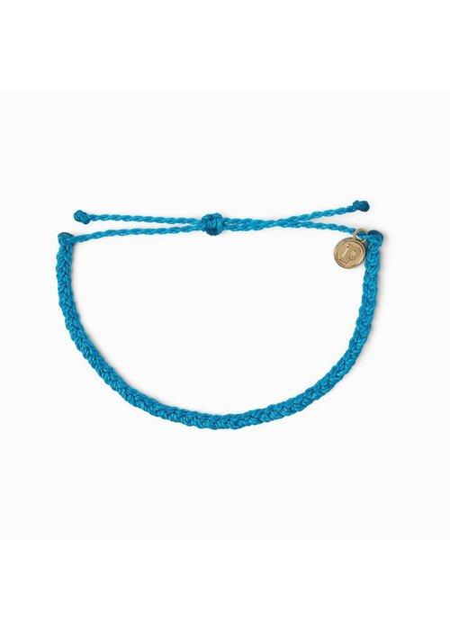 Pura Vida Mini Braided Solid Bracelet Neon Blue