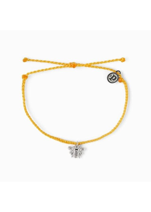 Pura Vida Bee Charm Braided Bracelet Dark Yellow