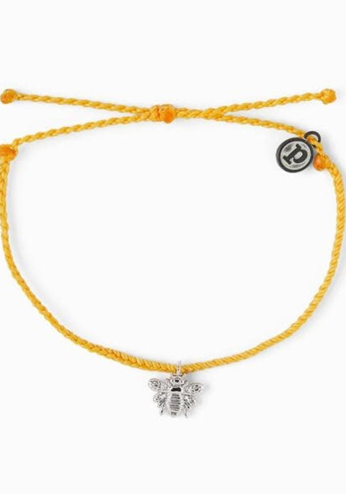 Bee Charm Braided Bracelet Dark Yellow