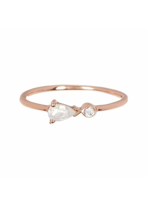 Pura Vida Pear Double Stone Rose Gold Ring