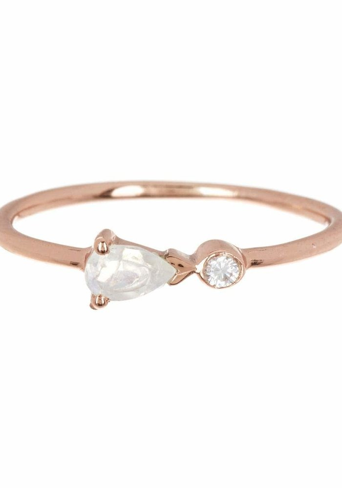 Pear Double Stone Rose Gold Ring