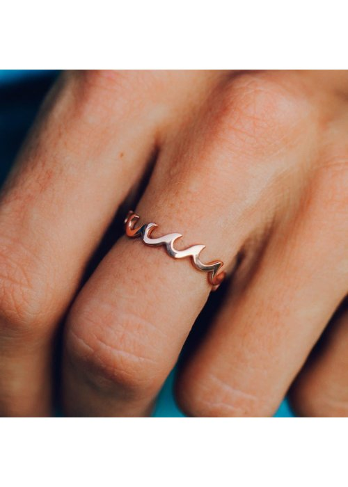 Pura Vida Rose Gold Wave Band Ring