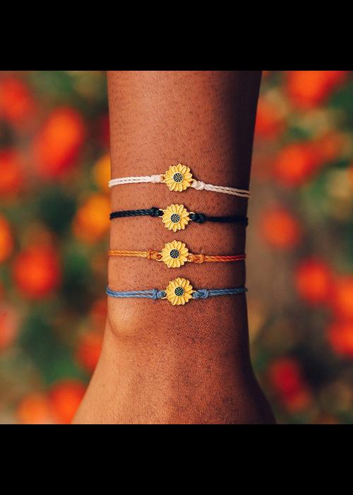Pura Vida Enamel Sunflower Charm Braided Bracelet