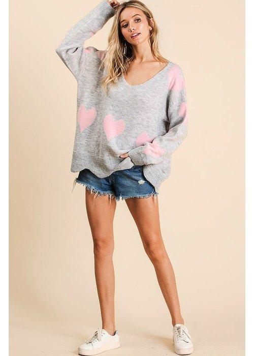 V Neck All Over Heart Sweater