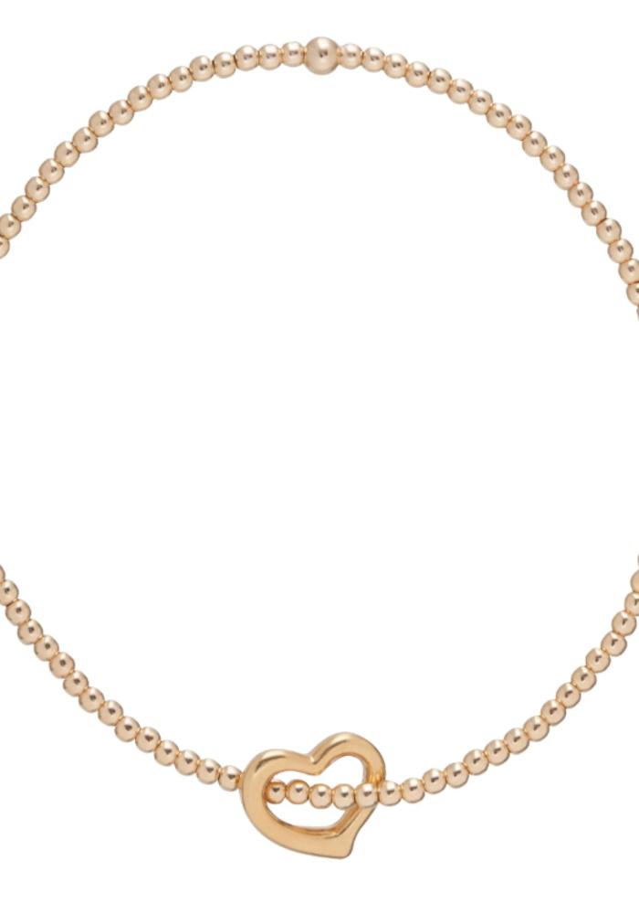 Classic Love Charm Gold Bead Bracelet