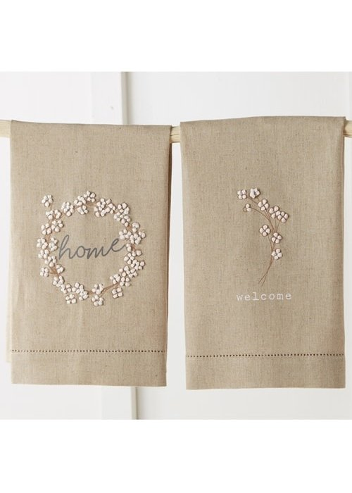 Mudpie Cotton Detail French Knot Tea Towels
